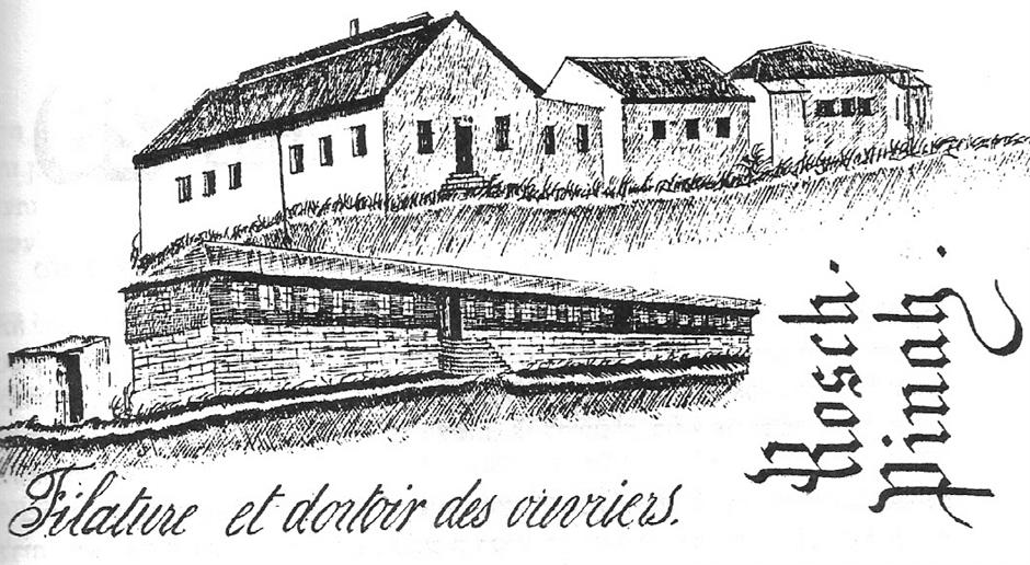 המטוויה ומגורי העובדים . לפני 1899